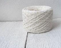 Boucle Linen Yarn - white boucle  yarn