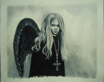 Original Angel art - Original art - Dark Angel - Colored pencil drawing - Angel drawing, Colored pencil drawing, Gothic artwork, Child angel