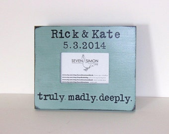 wedding frame, truly madly deeply, personalized wedding frame, wedding gift
