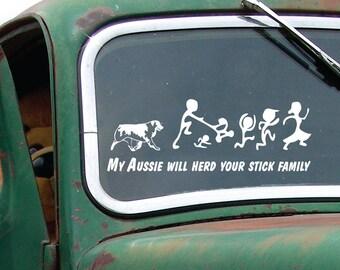 Aussie herds - My Aussie will herd your stick family