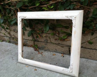 8x10 Picture Frame,Ornate, Shabby Chic, White, Embellished, Nursery decor, Glass and Backing, distressed wood, vintage wedding (Los Angeles)