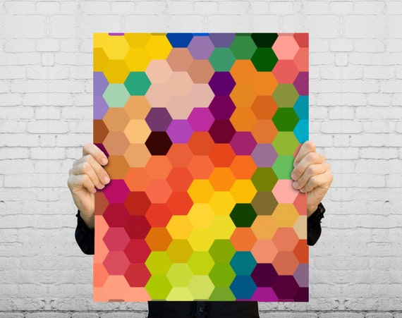 Geometric Art Print Honeycomb Hexagon Pattern By BySamantha