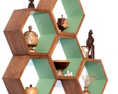 Storage Shelves - Honeycomb Shelving - Wood Floating Hexagon Shelves - Children's Furniture - Eco-Friendly Toy Storage - Large 5 shelf set
