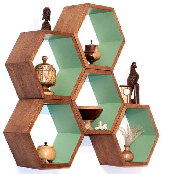 Storage Shelves - Honeycomb Shelving - Wood Floating Hexagon Shelves - Children's Furniture - Eco-Friendly Toy Storage - Custom 5 shelf set