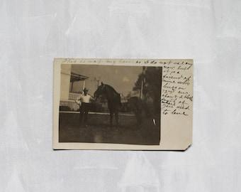 now on sale; vintage 1908 Postcard Photograph with 1903 Ben Franklin Stamp