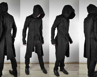 Trident Trenchcoat ( avant garde mens coat with hood )