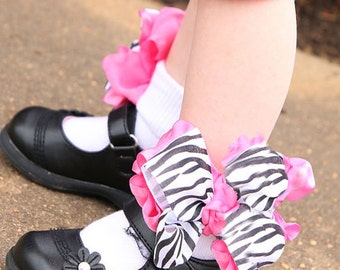 Girls Socks, Zebra Hot Pink Baby Ruffle Socks, Safari Animal Print Bows, Toddler Accessories, Cowgirls Pageant, Custom Boutique 1st Birthday