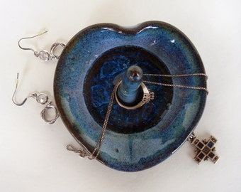 Blue heart ring dish, Valentine's Day jewelry holder, Pottery and crackled glass