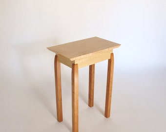 Narrow End Table: Tiger Maple & Cherry Accent Table, Small End Table, Bed Side Table -Handmade Custom Wood Furniture