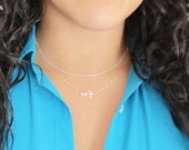 Sideways Anchor Necklace, little sterling silver anchor necklace, offset anchor, anchor pendant, navy necklace, gifts under 25