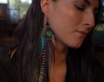 Unique extra longl single feather earring, handmade grizzly rooster ang green lady Amherst feathers, statment earring, festival wear