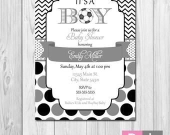 Soccer Baby Shower Invitation - Chevron Stripes and Polka Dots - Black and Grey - DIY - Printable