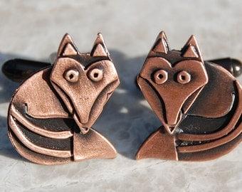 Fox cufflinks in copper finish