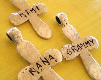 Custom Grandmother Cross Pendant with Necklace