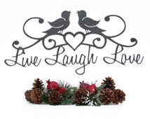 Live Laugh Love Metal Sign with Song Birds and Heart - Silver, 19x9, Outdoor Sign, Live Laugh Love Decor, Love Art