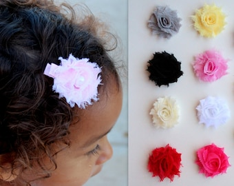 Mini Flower Hair Clips - Choose Your Colors - Baby Flower Clips - Shabby Flowers - Baby Girl, Newborn Girl, Girl Hair Clips
