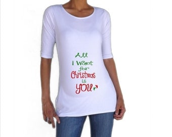 Christmas maternity shirt the best present isn 39 t from for Funny christmas maternity t shirts