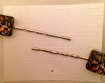 Cheetah Print Gem Bobbie Pins, Set of 2