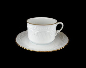 Vintage Elite Limoges Cathel Embossed Cup and Saucer Set - France