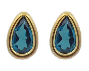 14Kt Yellow Gold London Blue Topaz Pear Bezel Stud Earrings