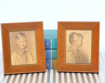 """Boy and Girl - Vintage Pair of Child Boy and Girl """"Charlotte"""" and """"Peter"""" Portrait Prints in Wood Frames"""