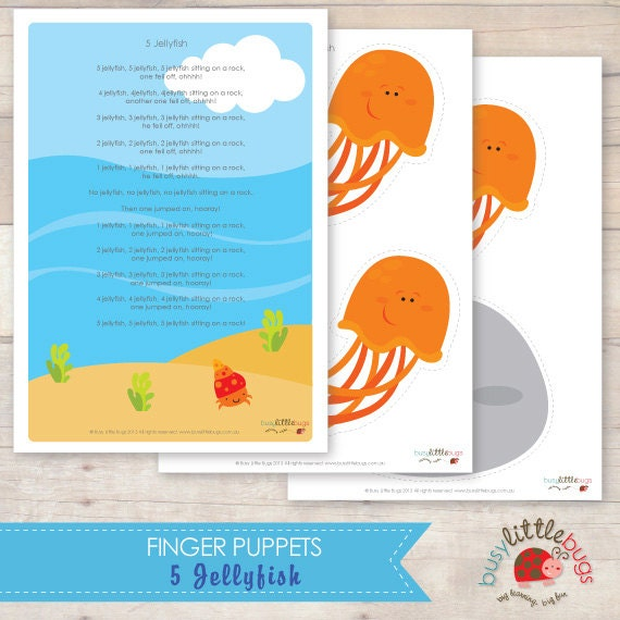 5 jellyfish finger puppets and poem by busylittlebugsshop for Fish songs for preschoolers