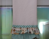 Ruffled Kitchen Tea Towel, Kitchen Utensils, Teal, Brown Swirls