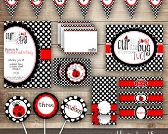 Ladybug Birthday Party, Ladybug Party Printables, Ladybug Party, Ladybug Party Package, Ladybug Invitation, Girls Birthday, Polka Dots