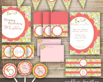 Shabby Chic Birthday Party, Printable Party Package, Girl's Birthday, Floral Birthday, Girl, First Birthday, Second Birthday, Floral Party