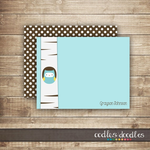 Personalized Owl Stationery / Flat or Folded Note Card, thank you ...