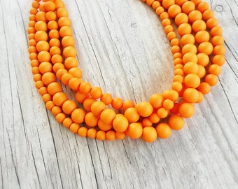 Beaded orange necklace - Bridesmaids gift - Chunky statement orange necklace -Multistrand satin necklace - Bridesmaids tangerine necklace