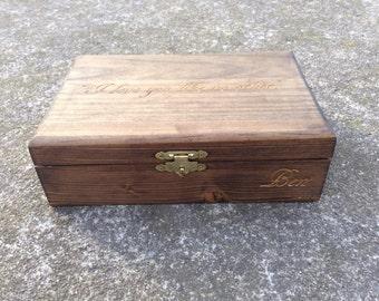 Large Personalized Box Engraved Wooden Keepsake Box With Name - Wedding Gift