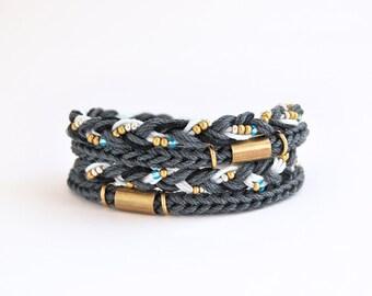 Charcoal gray wrap bracelet, cord bracelet, knit bracelet, braid bracelet with brass tubes
