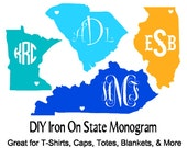 DIY Iron On Monogram State Decals, Personalized Iron Ons, Great For Shirts, Totes, Caps, Blankets And Much More