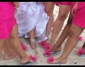 SALE!! Custom WEDDING Flip Flops, BRIDESMAID Flip Flops, Simple & Elegant Tulle Flip Flops, Gifts, Bridal Party Gift, Beach Weddings