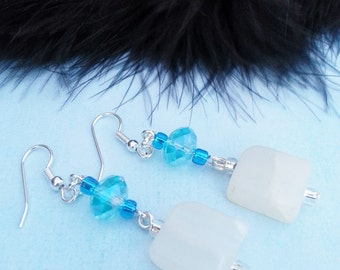 EARRINGS Blue Swarovski Crystal Faceted Sterling Silver Italian Onyx Gifts