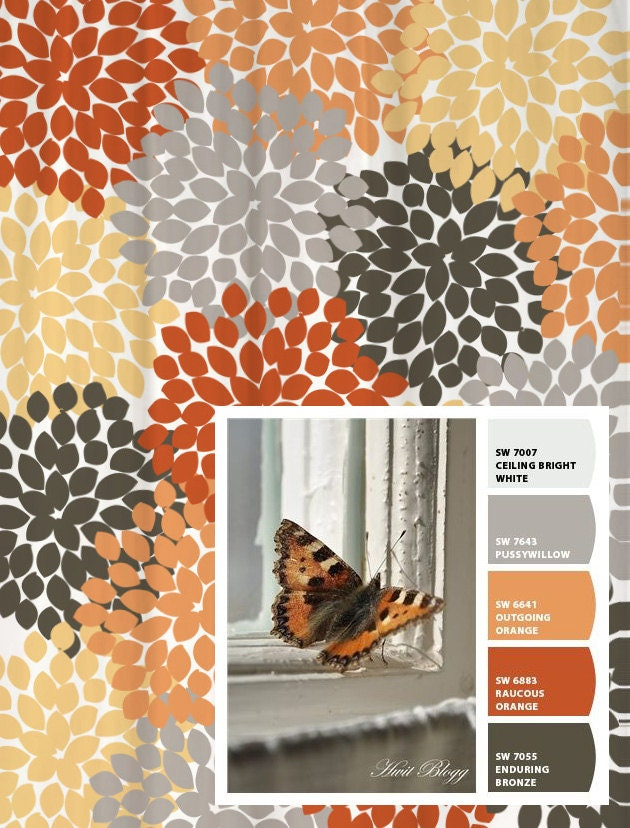 Shower Curtain Gray Orange Monarch Inspired Floral Standard