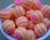 20mm PINK LEMONADE Striped Chunky Beads...Quantity of 5 Pink & Yellow Beads...  Big Round Resin Beads for Chunky Necklaces
