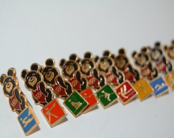 Set of 22 Soviet Olympic pins Misha the Bear pin Moscow 1980 Olympics USSR era Olympic badges