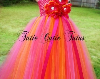 Tangerine and Hot Pink Flower Girl Tutu Dress NB-8