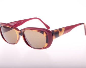 Amica vintage diva reflective cello bicolot burgundy and speckled havana sunglasses, new from 1980s Italian deadstock.