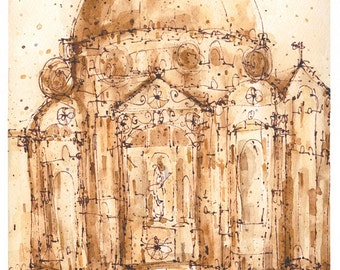 FLORENCE ART DUOMO Italy Fine Art, Signed Florence Print, Firenze Watercolor, Tuscany Painting, Florence Cathedral Italy, Clare Caulfield