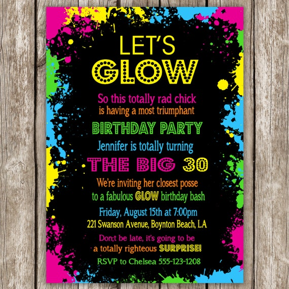 free glow party printable invitations