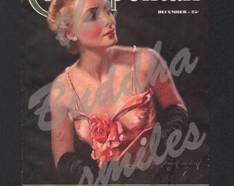Vintage Magazine Cover, Cosmopolitan, December, 1936 Artist: Bradshaw Crandell (Cosmo010)