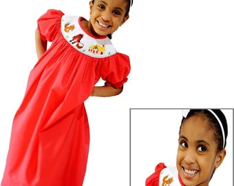 Little Red Riding Hood Smocked Bishop Dress