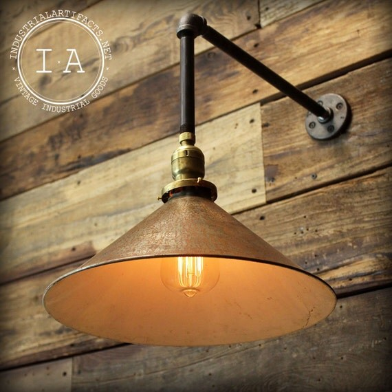 Vintage Gas Wall Lamps : Vintage Industrial Gas Station Barn Lamp Enamel Shade Wall