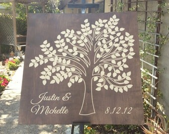 Wooden Carved Guest Book Modern Tree - 75, 100 signatures