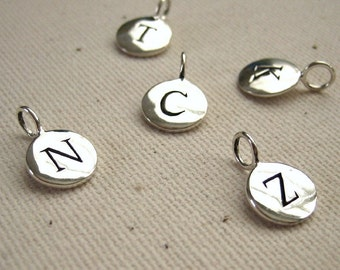 Stamped Initial Charm Sterling Silver Monogram Disc - Your Choice of Letter