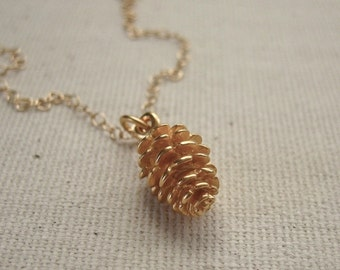 Gold Pine Cone Necklace - 24K gold plated - Simple Nature Jewelry