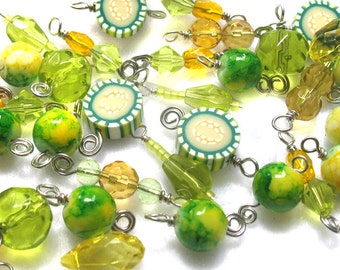 Yellow and Green Bead Charms - Awesome Wire-wrapped beads for DIY Bracelets - Set 02C